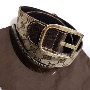 GUCCI GG Monogram Canvas Brown Leather Belt